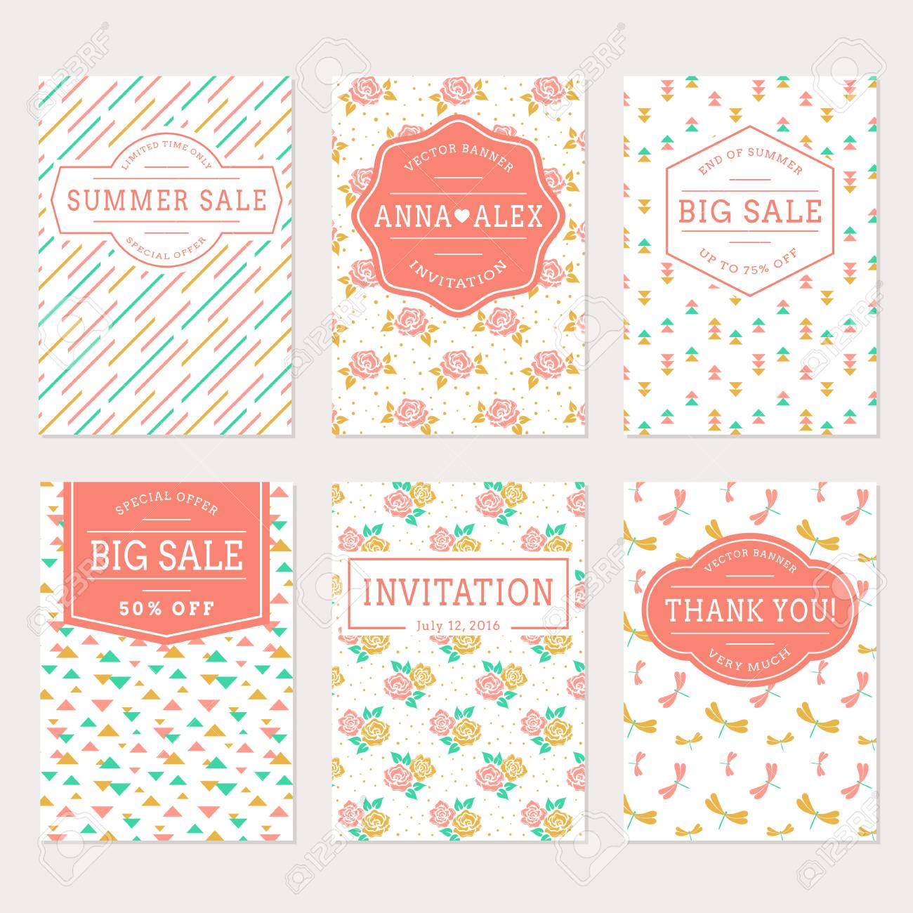 Set Of Cute Banners In White, Pink, Gold And Turquoise Colors ...