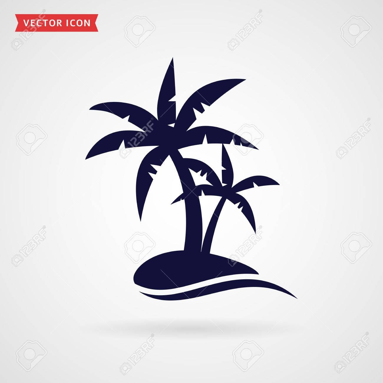 Palm tree icon isolated on white background. Tropical beach and travel themes. Vector illustration. - 60018813