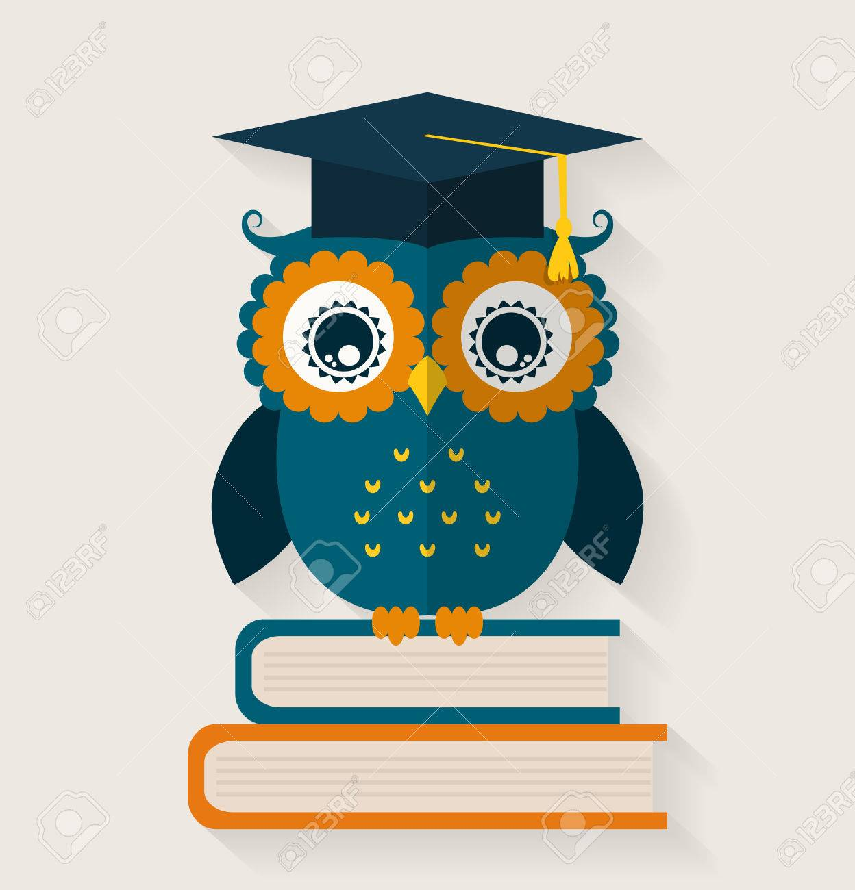 Wise Owl In Graduate Cap Sitting On The Books School And Education