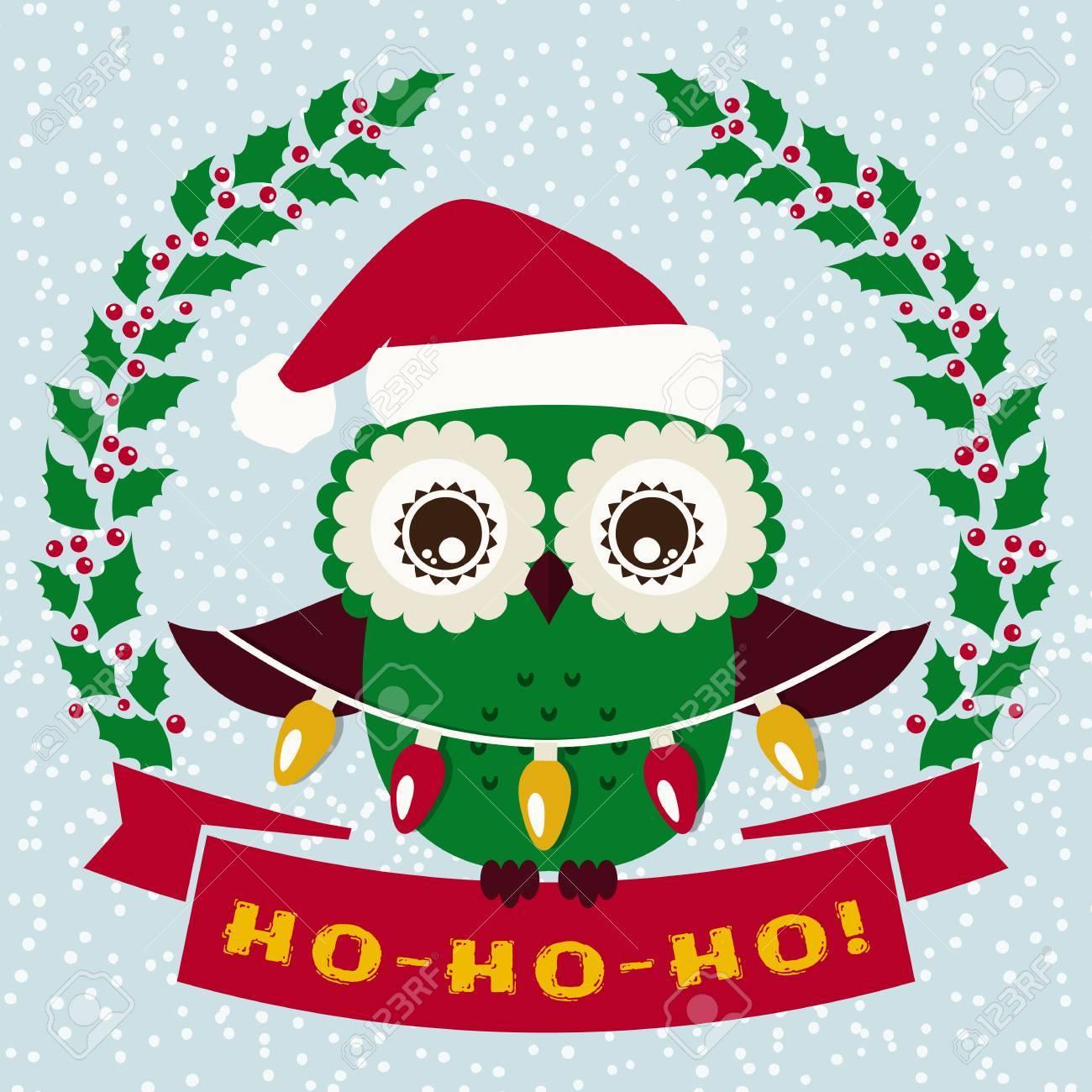 Ho-Ho-Ho! Christmas Greeting Card With Cute Owl In Santa Hat ...