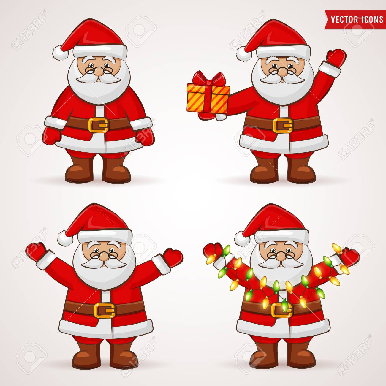 santa claus cute cartoon characters christmas and new year themes vector illustration