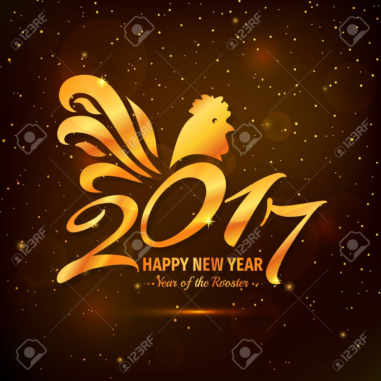 Happy New Year Greeting Card With Rooster Chinese Zodiac 2017