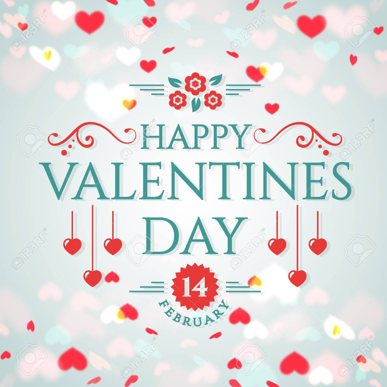Happy Valentine\'s Day! Romantic Greeting Card With Hearts Background ...