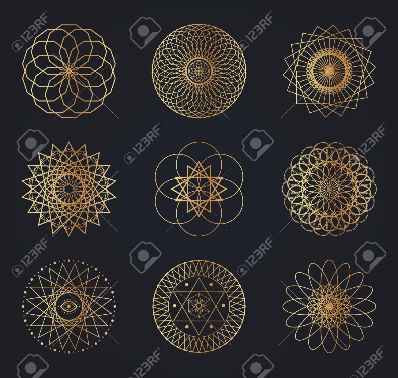 Sacred geometry symbols. Set of vector design elements isolated on black background. - 70082640