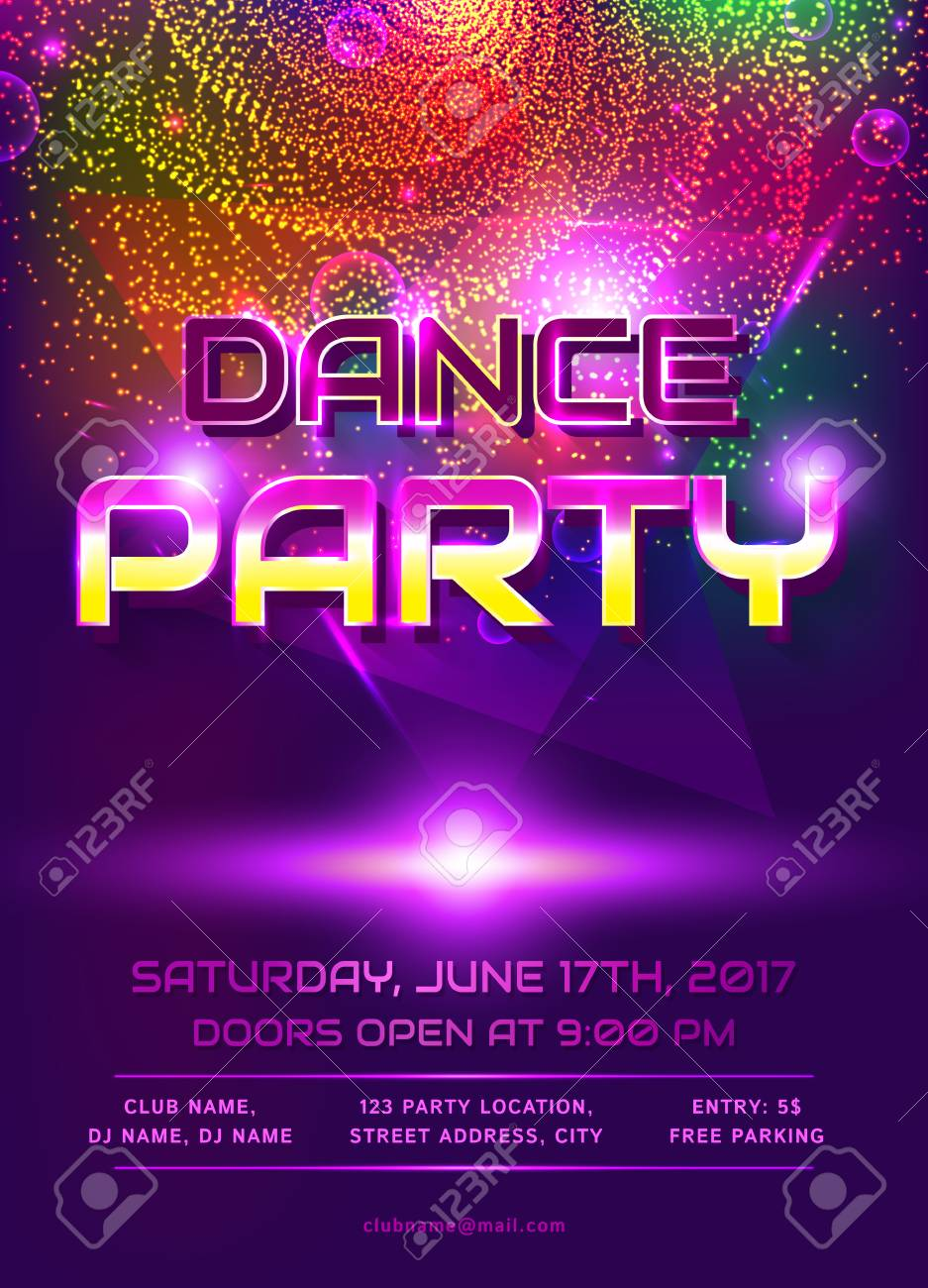 Colorful Flyer For Dance Party Invitation. Template With Shiny ...
