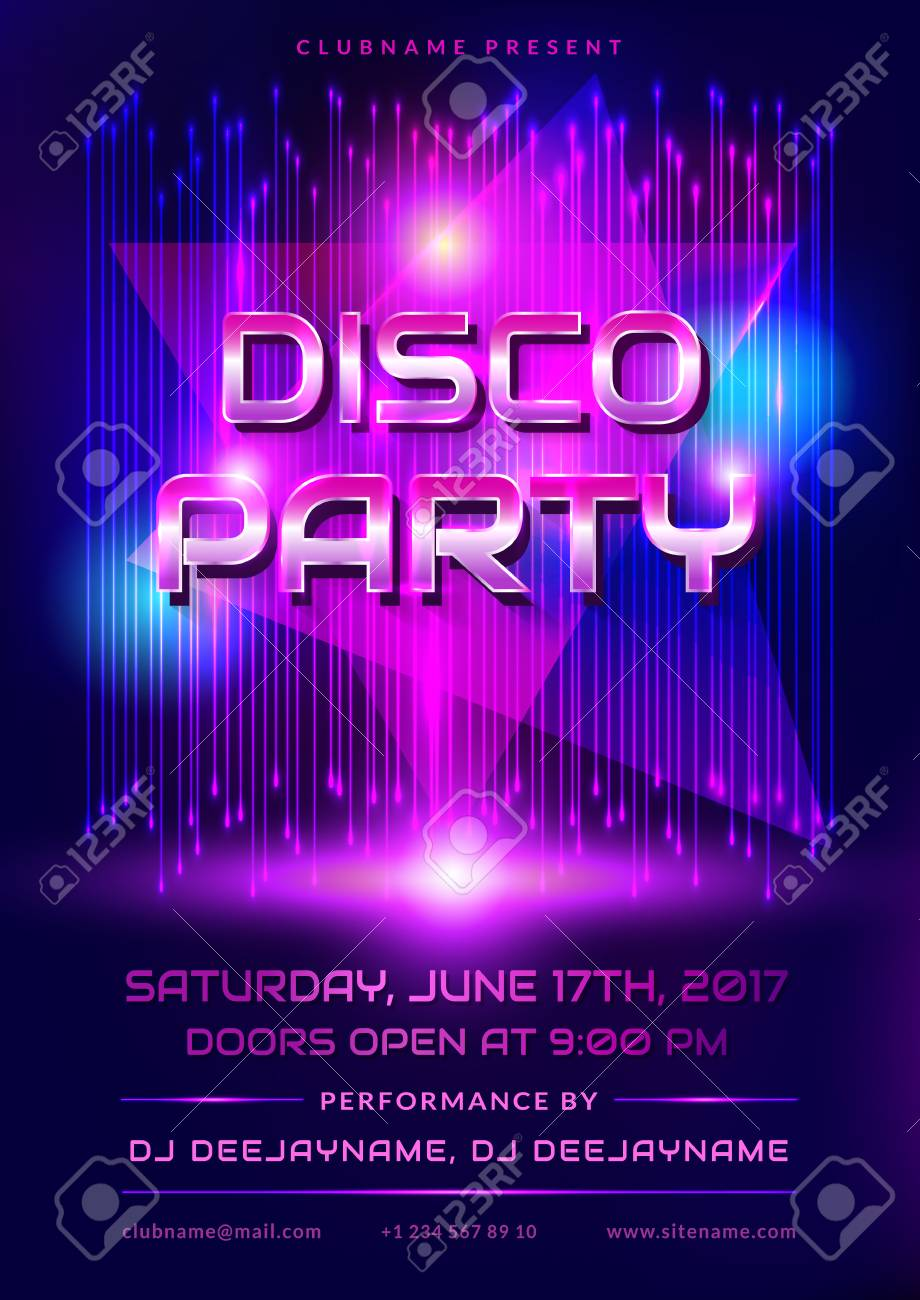 colorful flyer for disco party invitation with shiny background