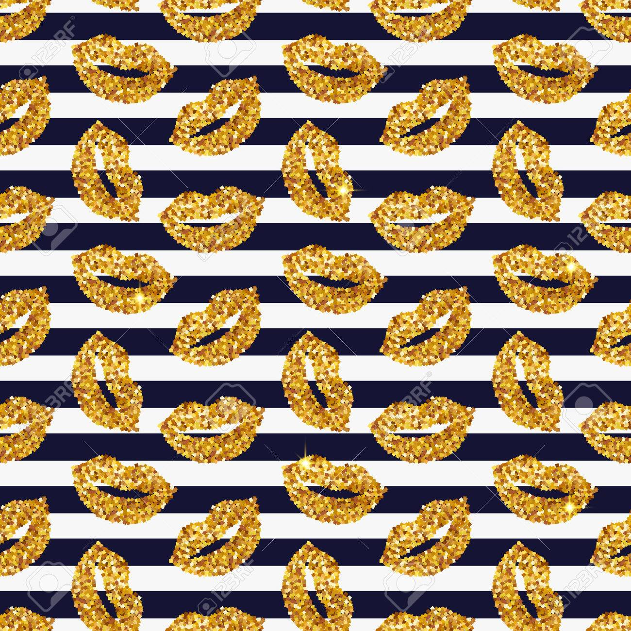 Striped background with gold glittering lips. Seamless pattern. Vector illustration. - 79428762