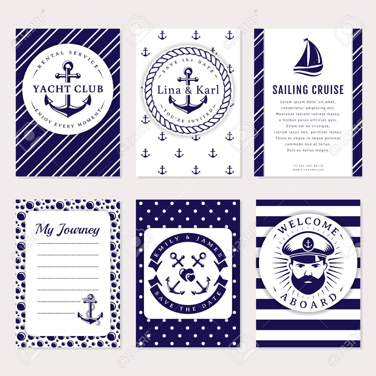 Marine Banners, Invitations And Flyers Set. Elegant Card Templates ...