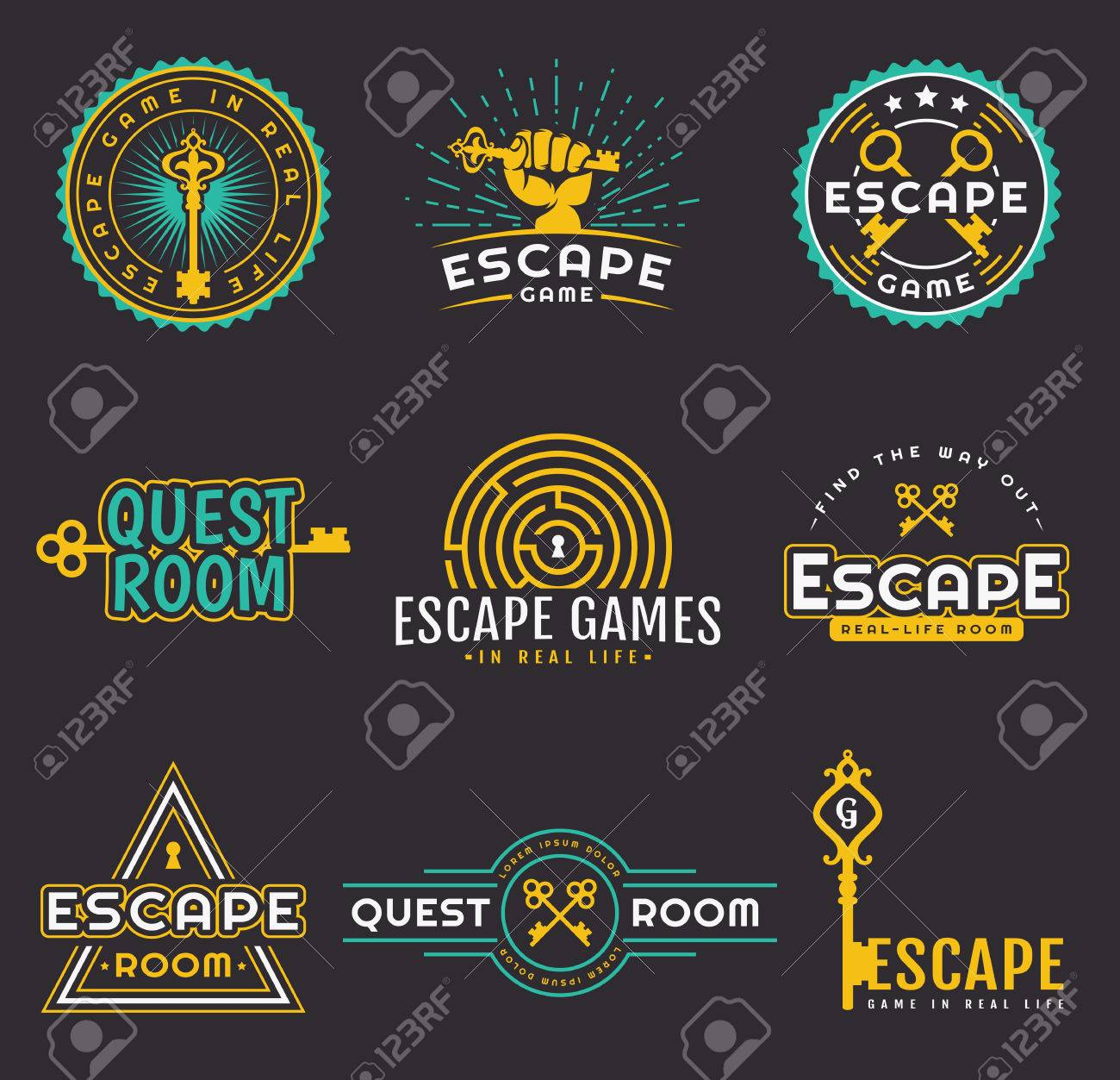 Set of quest room logos templates. Vector badges for real-life escape game design. Collection of emblems isolated on a black background. - 80946191