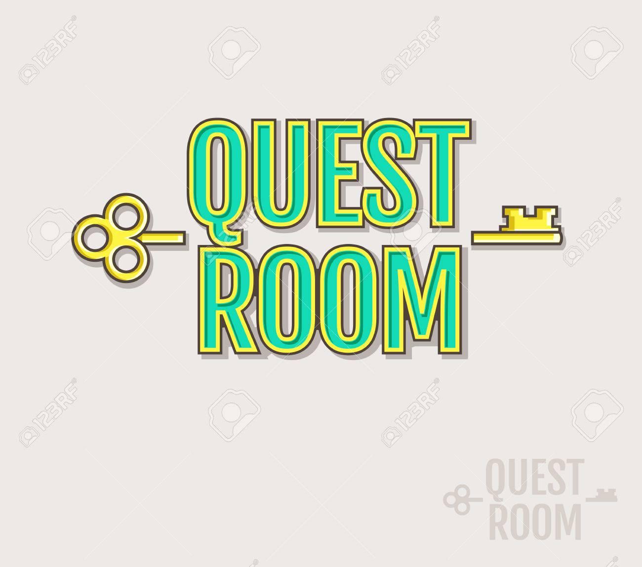 Quest Zimmer Logo. Vector Abzeichen Für Flucht Spiel Design. Farbige Und  Silhouette