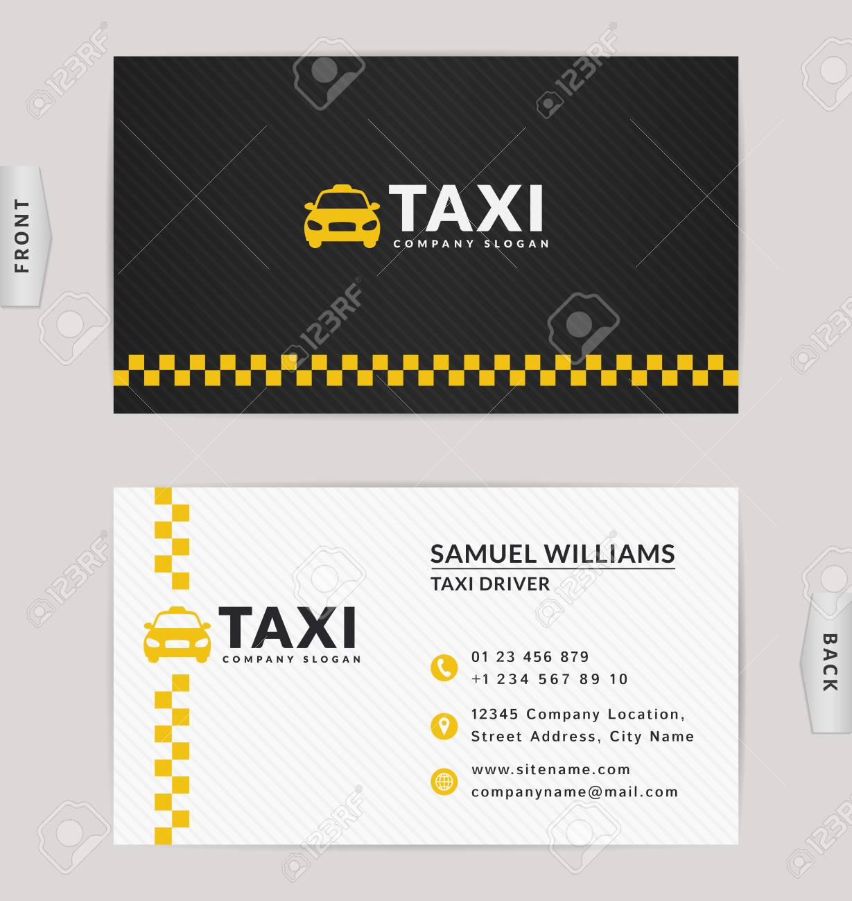 Business Card Design In Black White And Yellow Colors Vector
