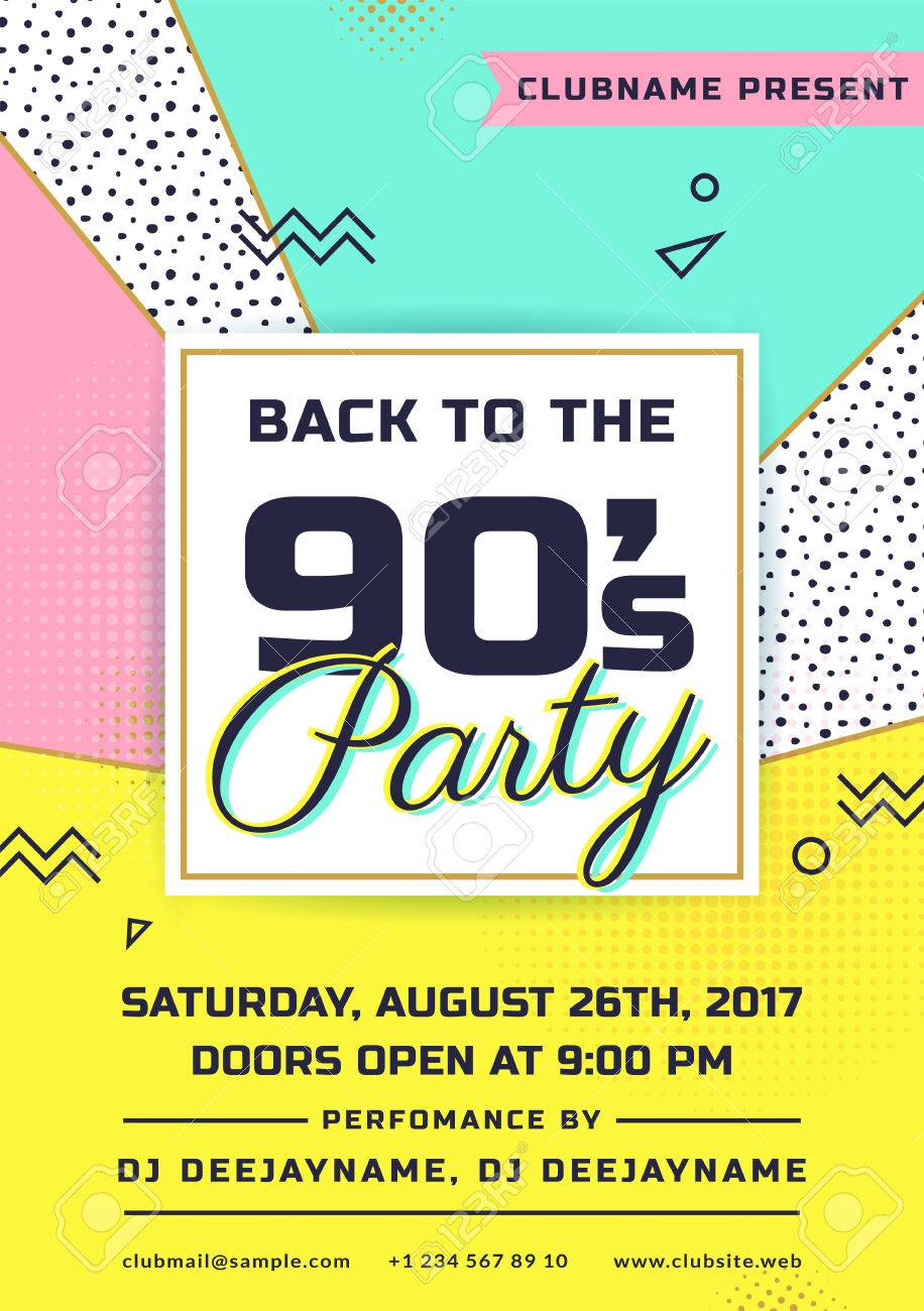 back to the 90s party invitation colorful flyer template vector design in trendy geometric