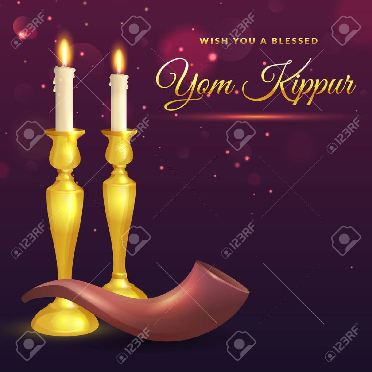 Yom Kippur Greeting Card With Candles And Shofar Jewish Holiday