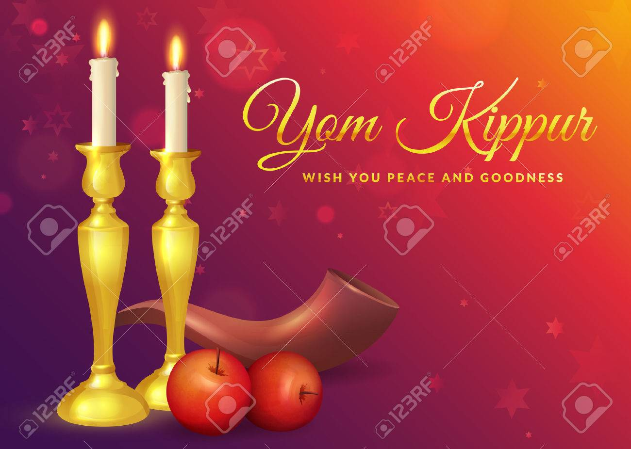Yom kippur greeting card with candles apples and shofar jewish vector yom kippur greeting card with candles apples and shofar jewish holiday background vector illustration m4hsunfo