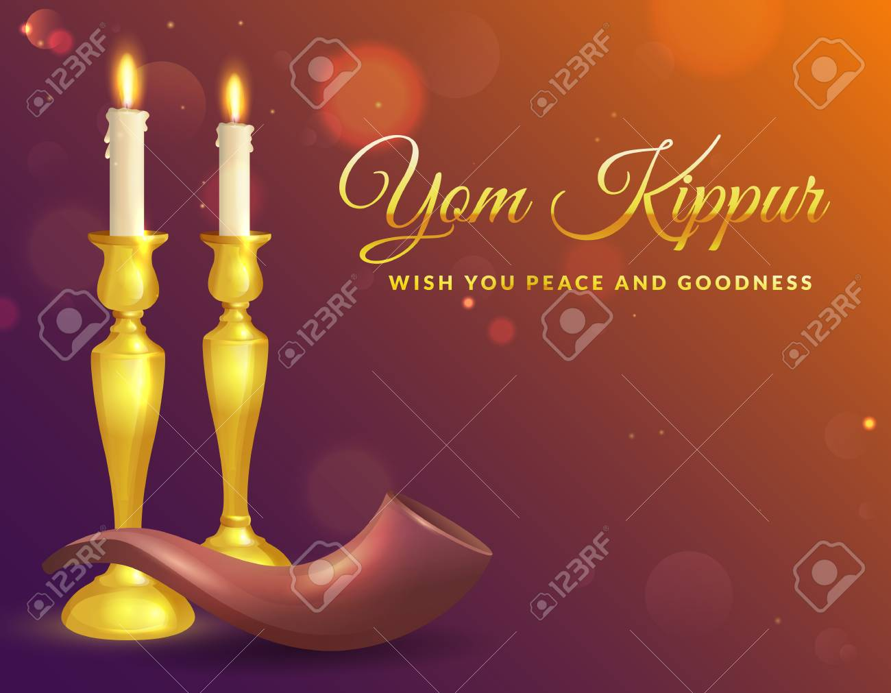 Yom kippur greeting card with candles and shofar jewish holiday vector yom kippur greeting card with candles and shofar jewish holiday background vector illustration m4hsunfo