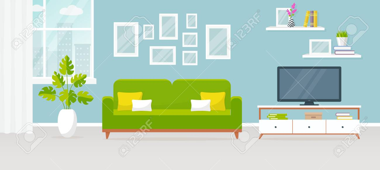 modern interior of the living room. vector banner. design of