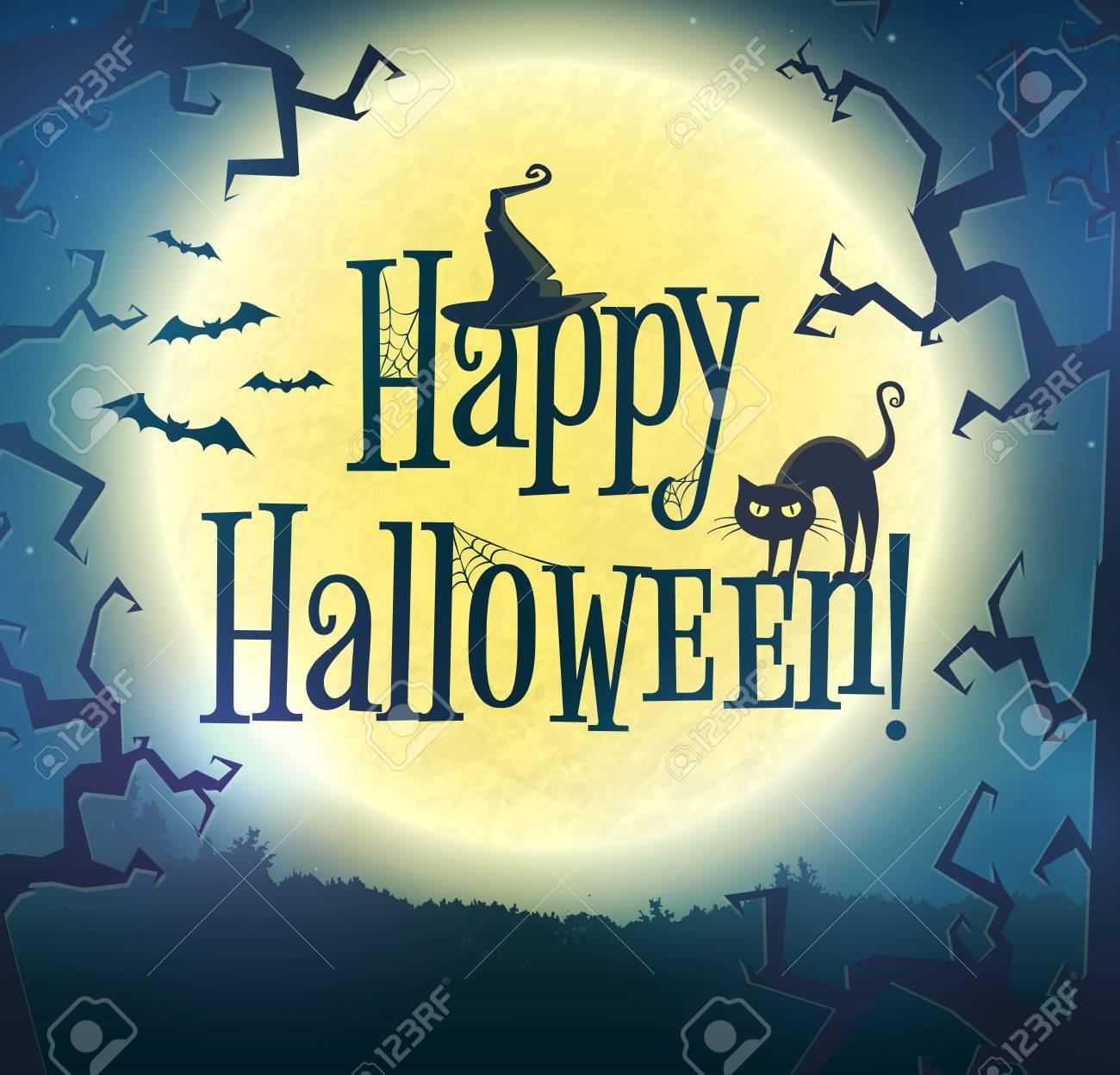 Happy Halloween! Vector Greeting Card. Spooky Night Background With Full  Moon, Scary Trees