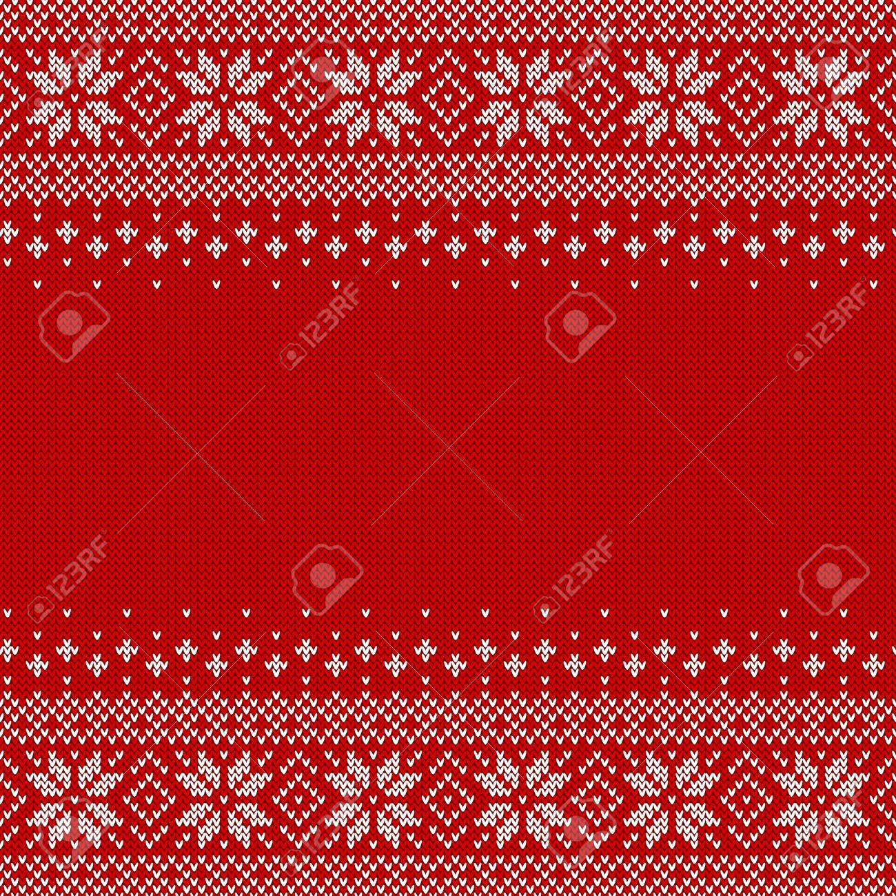 Knitted seamless background with copyspace. Red and white sweater pattern for Christmas or winter design. Traditional scandinavian ornament with place for text. Vector illustration. - 90337957