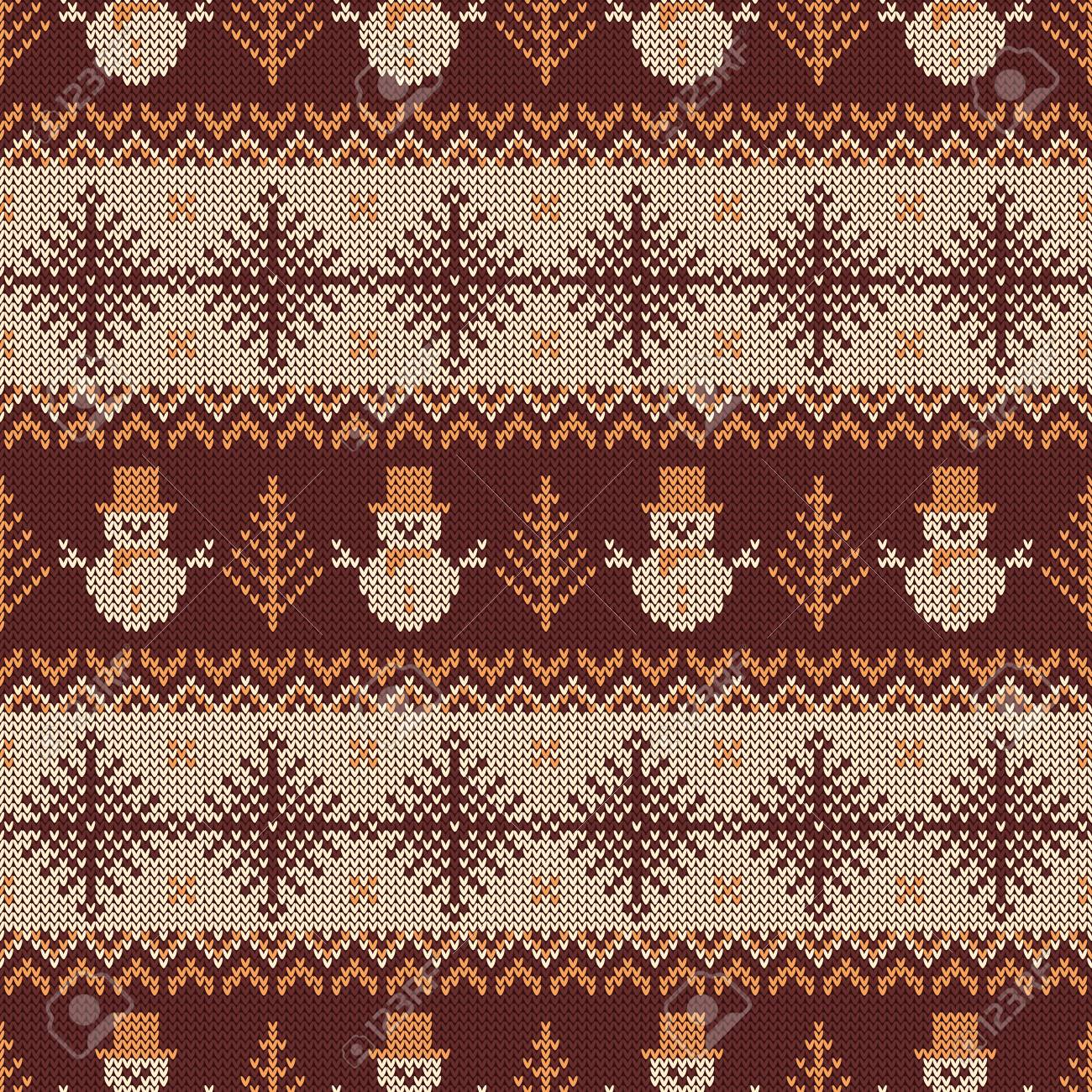 Knitted Pattern With Snowflakes And Traditional Scandinavian ...