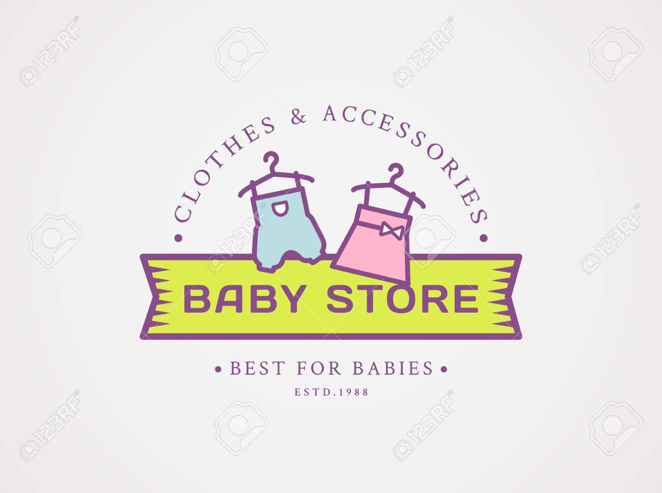 dbf5ab4ff850 Baby Shop . Vector Symbol With Children s Clothes - Pink Dress ...
