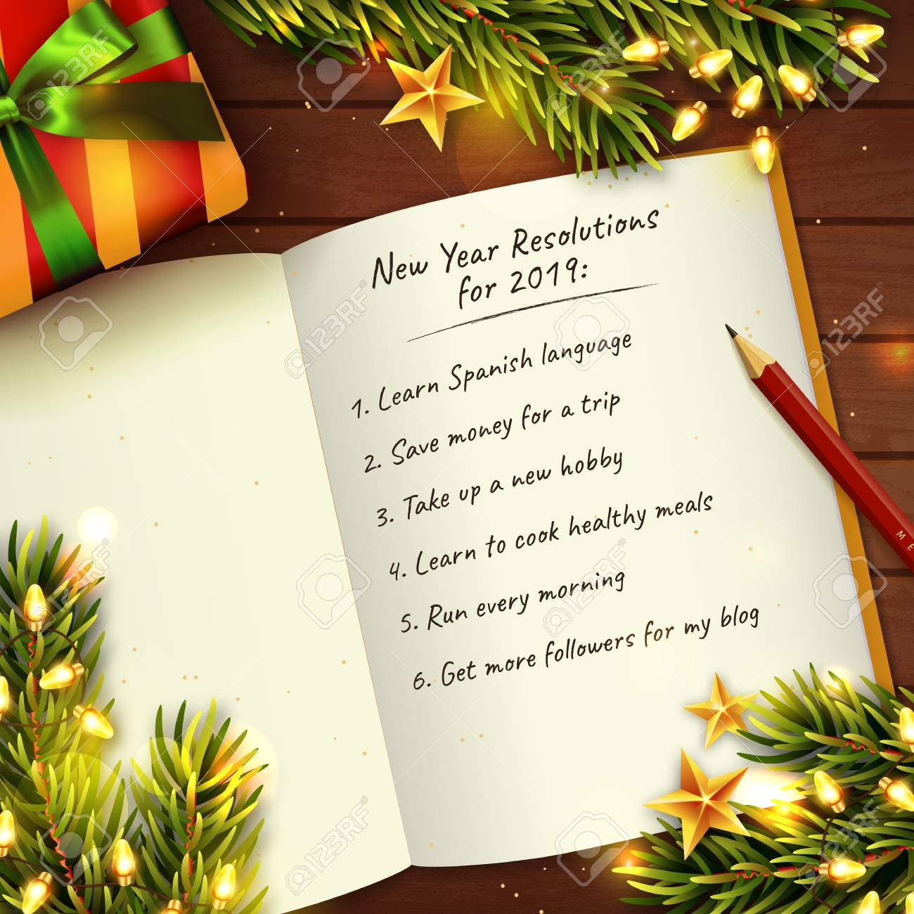 Christmas List 2019.New Year 2019 Resolutions Concept With Notebook Christmas Tree