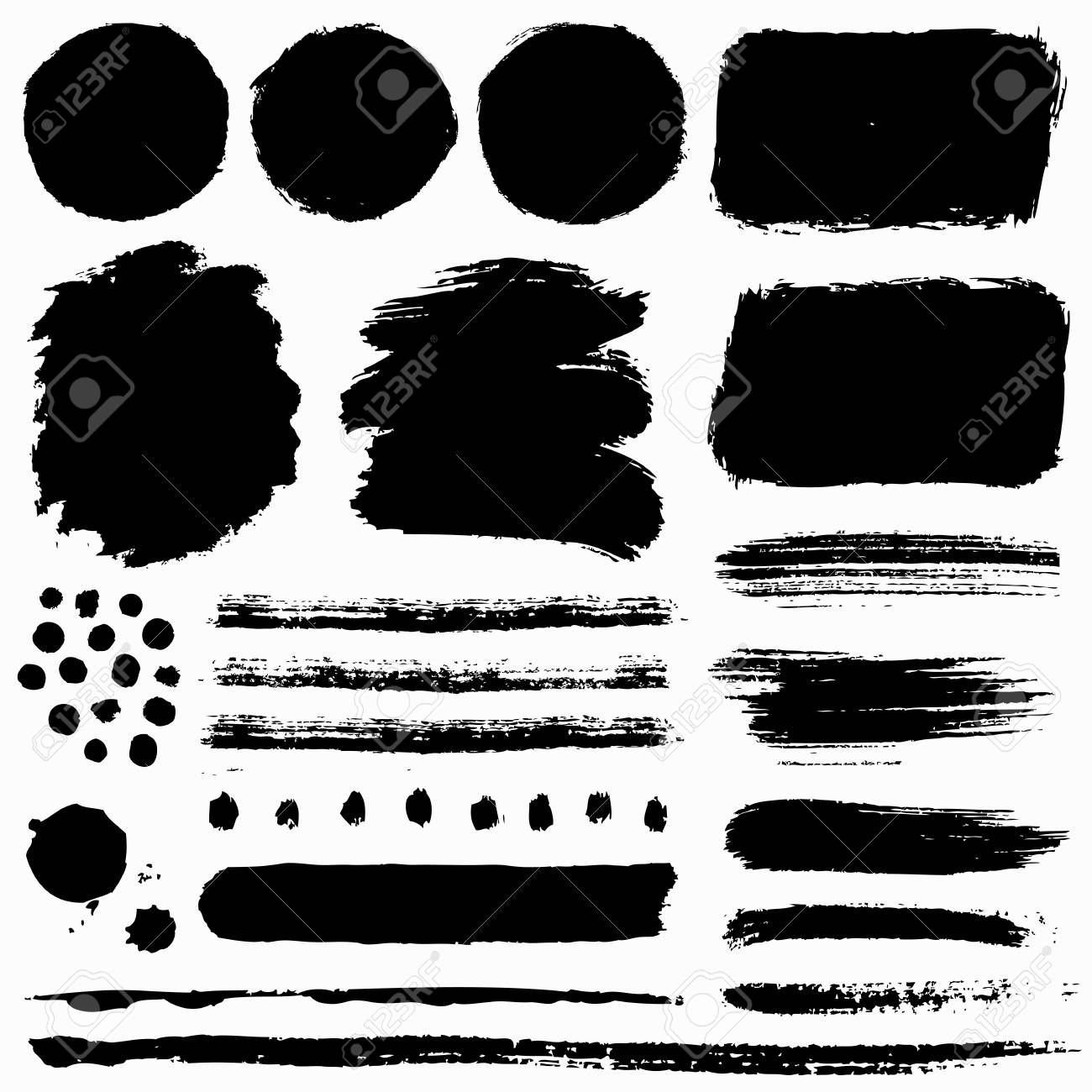 Paint brush strokes and grunge stains isolated on white background. Black vector design elements for paintbrush texture, frame, background, banner or text box. Freehand drawing collection. - 125026866