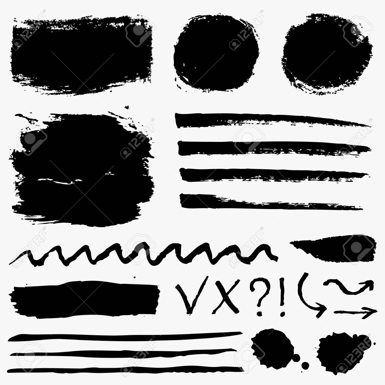 Paint brush strokes, grunge stains and symbols isolated on white background. Black vector design elements for paintbrush texture, frame, background, banner or text box. Freehand drawing collection. - 123230522