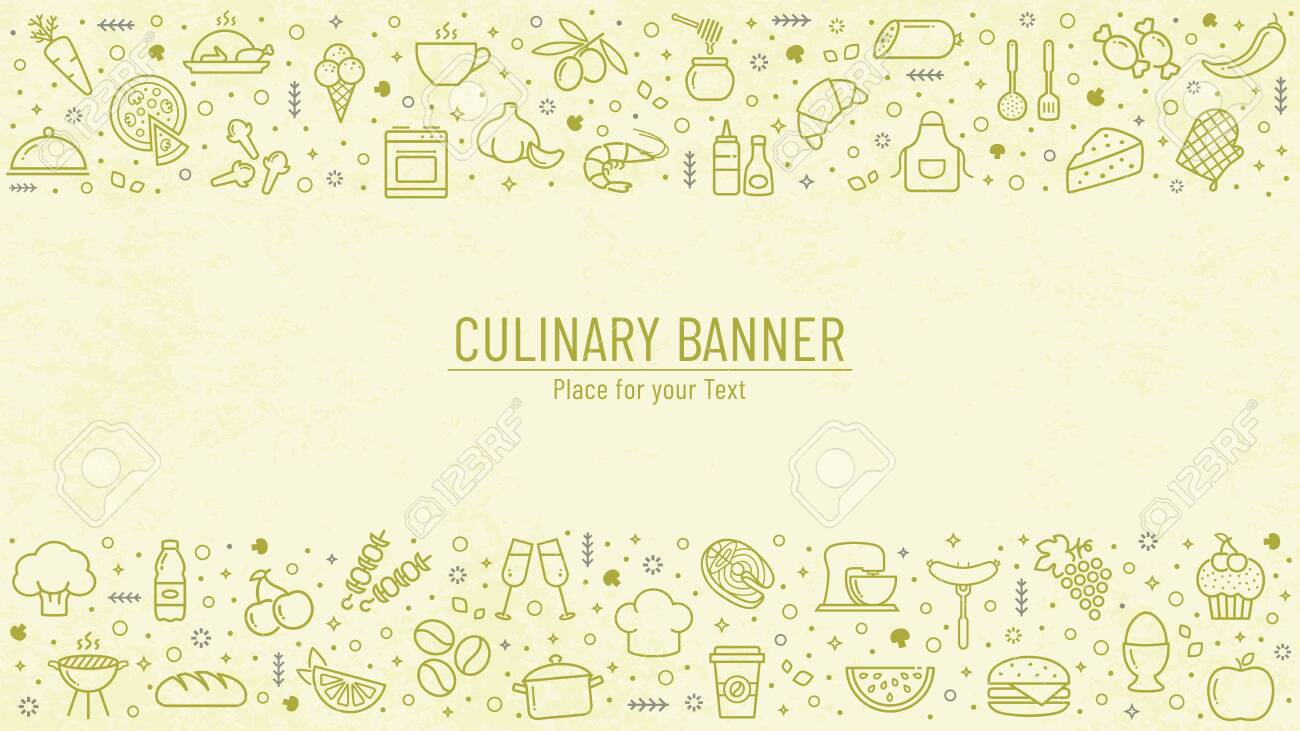 Cooking Banner With Food And Kitchen Line Icons And Copy Space Royalty Free Cliparts Vectors And Stock Illustration Image 135303205