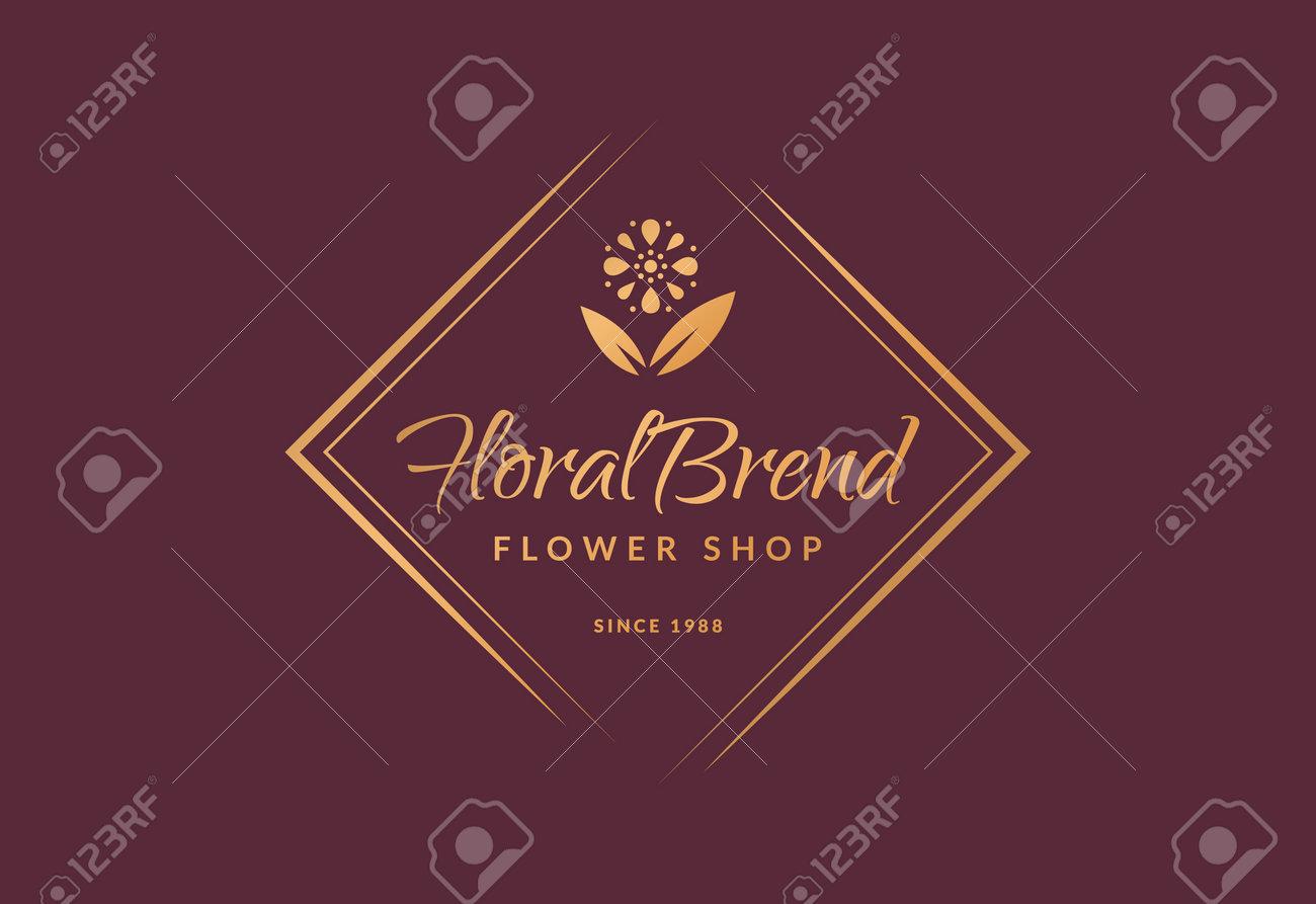 Flower shop logo. Elegant golden floral emblem isolated on clean background. Vector template. - 160172714