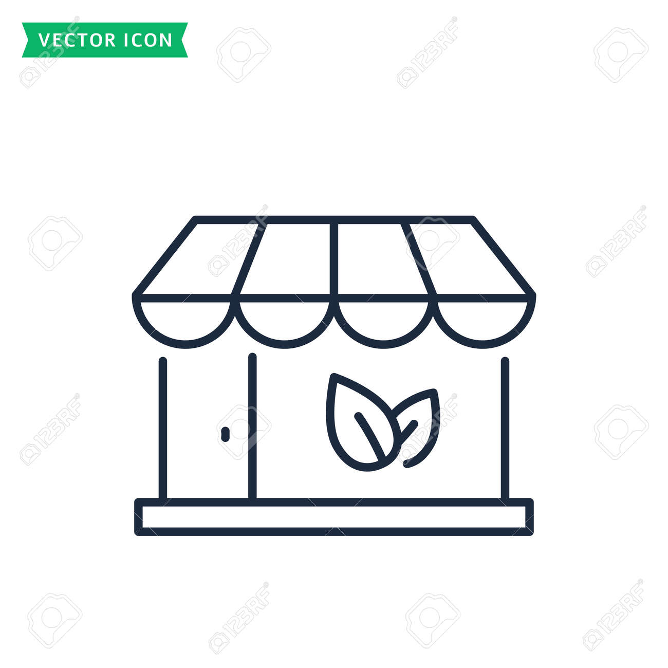 Eco store line icon isolated on a white background. Organic shop concept. Outline symbol. Vector. - 160172593