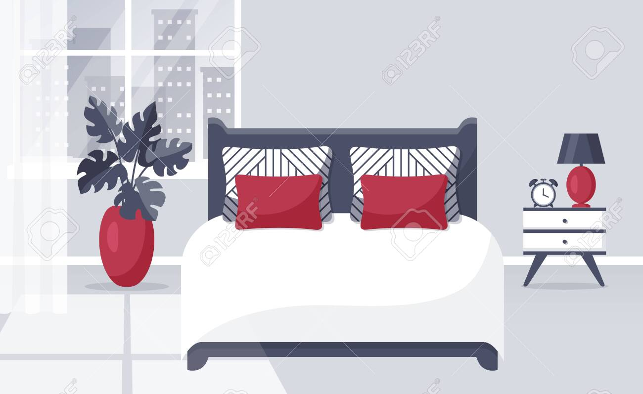 Bedroom interior. Vector illustration. Design of a trendy cozy room with double bed, bedside table, window and decor accessories. Home furnishings. Flat banner in white, gray and red colors. - 156525966