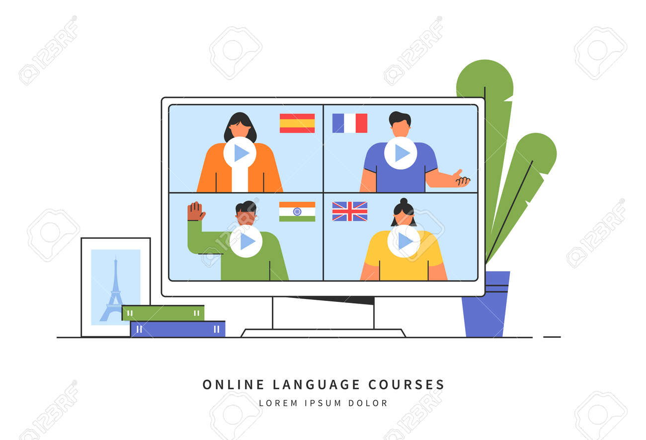 E-learning of the foreign languages. Distance online education concept. Teachers from different countries give lessons on the website. Modern vector illustration isolated on white background. - 160162614