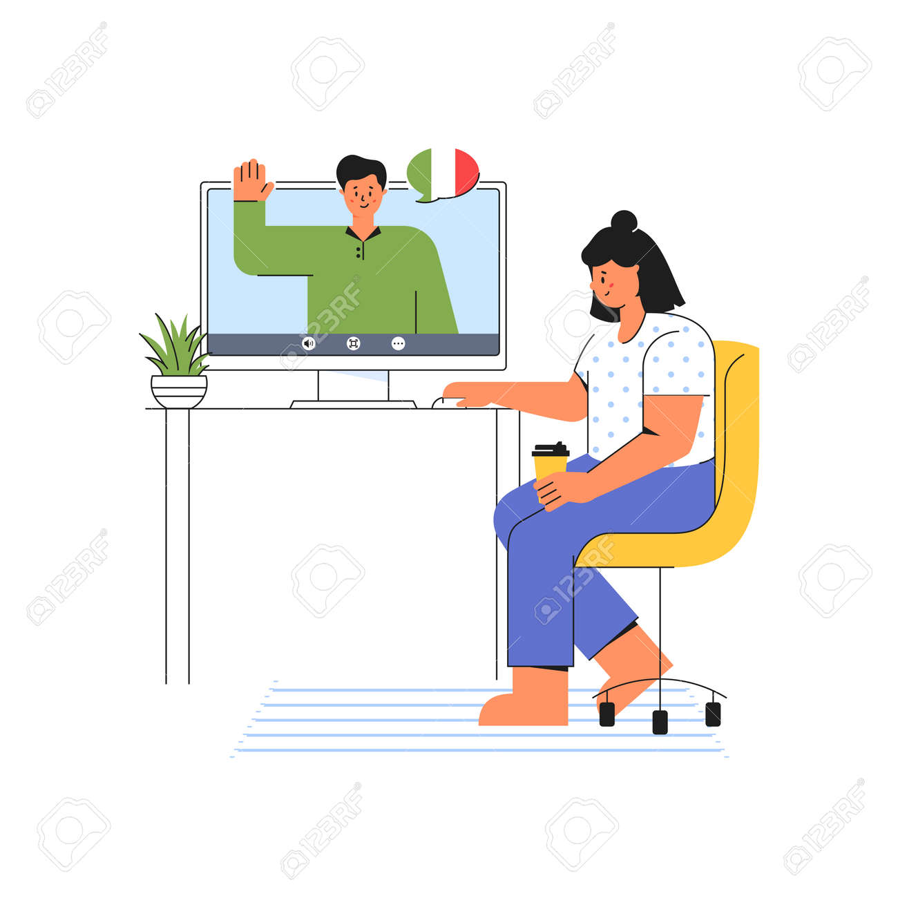 E-learning at home. Young woman listens to the teacher of Italian language. Online course on the website. Distance education concept. Modern vector illustration isolated on a white background. - 160162616