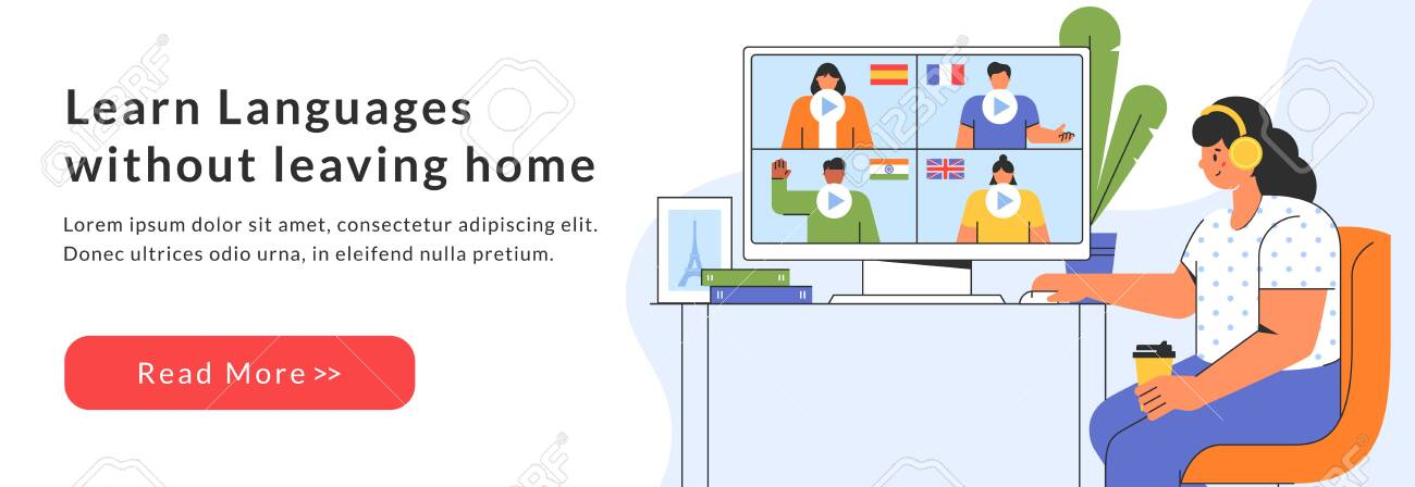 Distance online education web banner. Girl chooses a course to study a foreign language on the website. E-learning at home. Vector template - 157924943