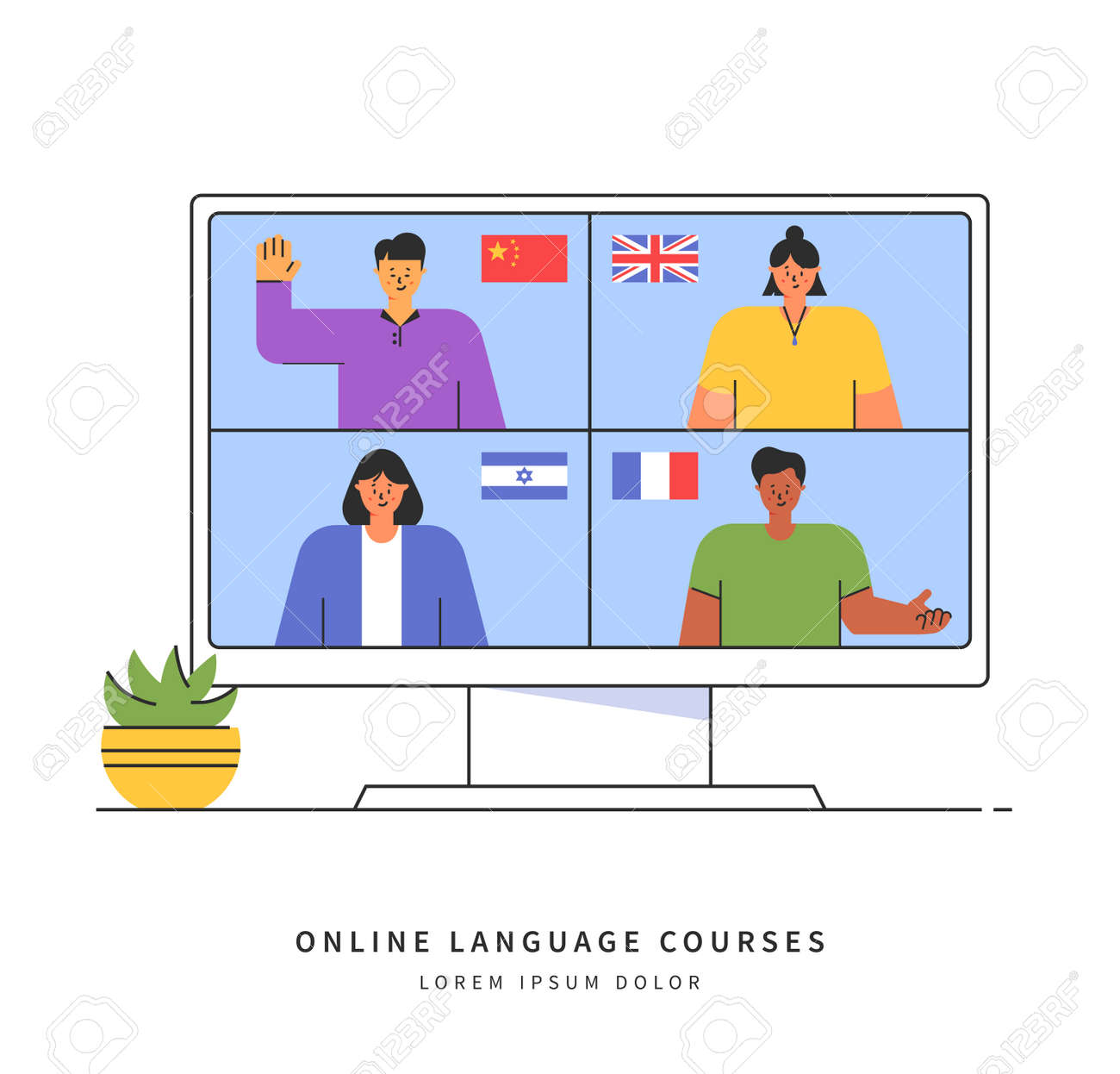 E-learning of the foreign languages. Distance online education concept. Teachers from different countries give lessons on the website. Modern vector illustration isolated on white background. - 158224793