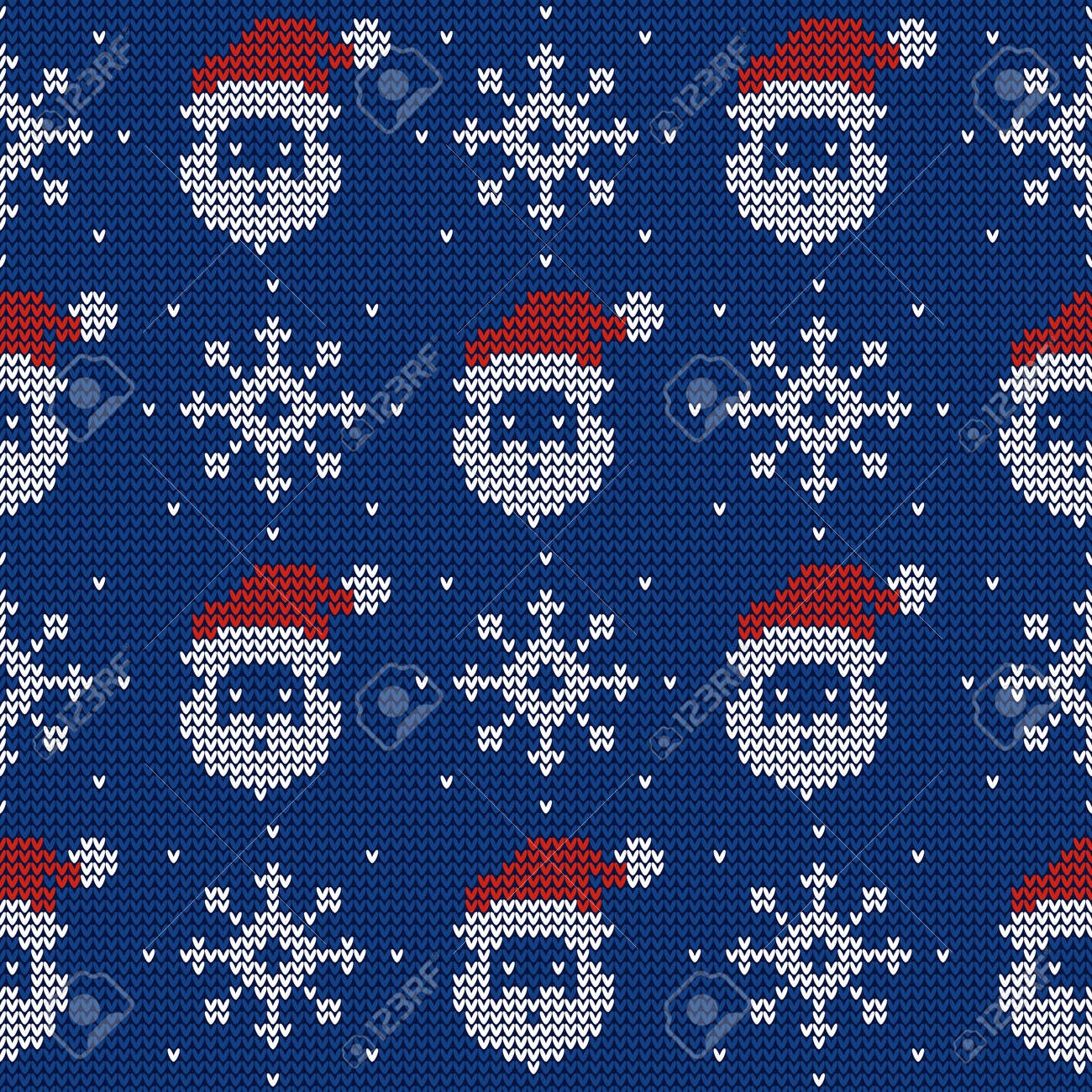 Knitted seamless pattern with Santa Clauses and snowflakes. Vector background. Blue, red and white sweater ornament. - 159194977