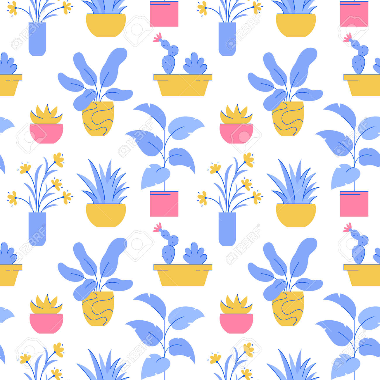 Houseplant seamless pattern. Vector background with different potted plants. - 162361758