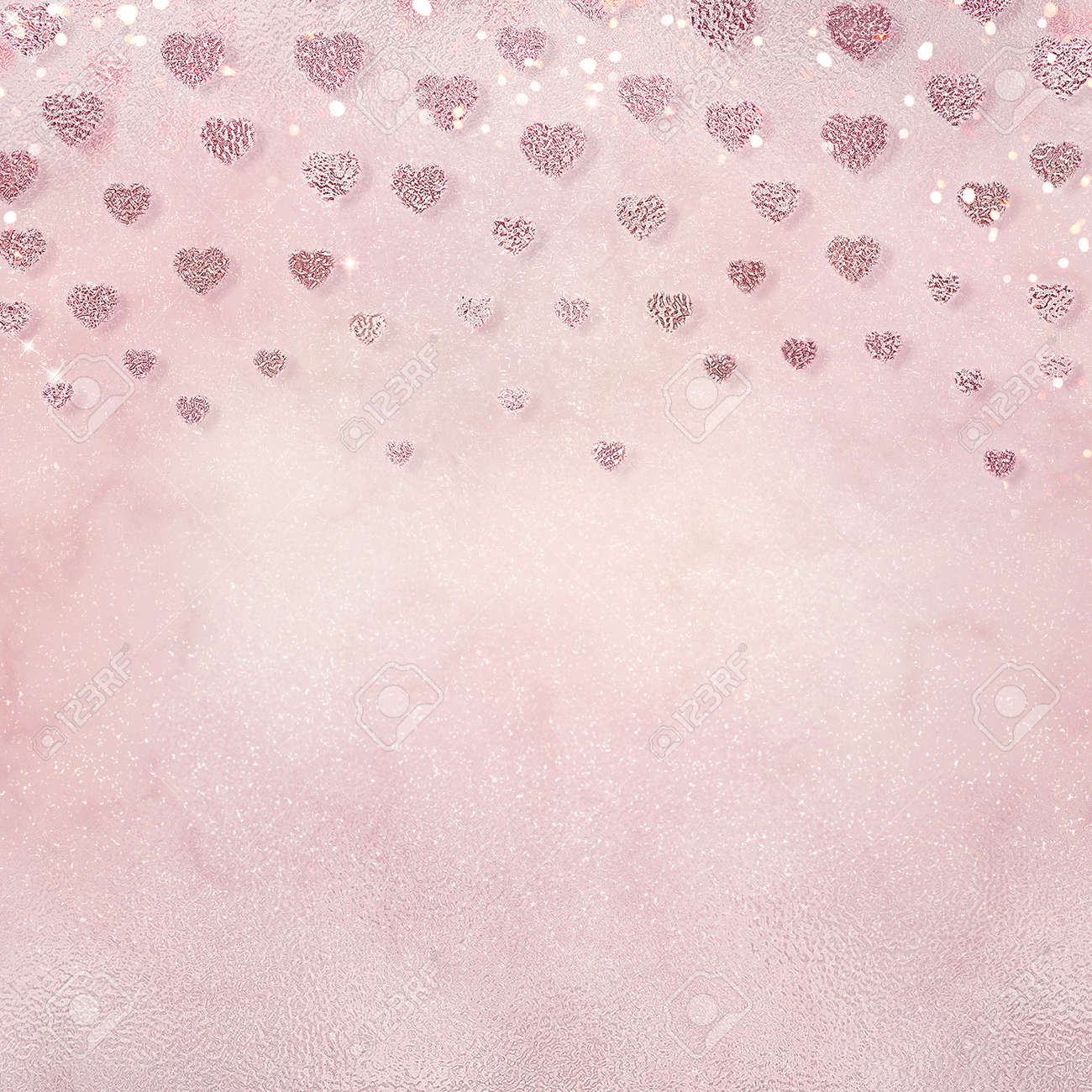 Romantic background for wedding or Valentines day design. Beautiful pink wallpaper with hearts and shiny bokeh. - 162361766