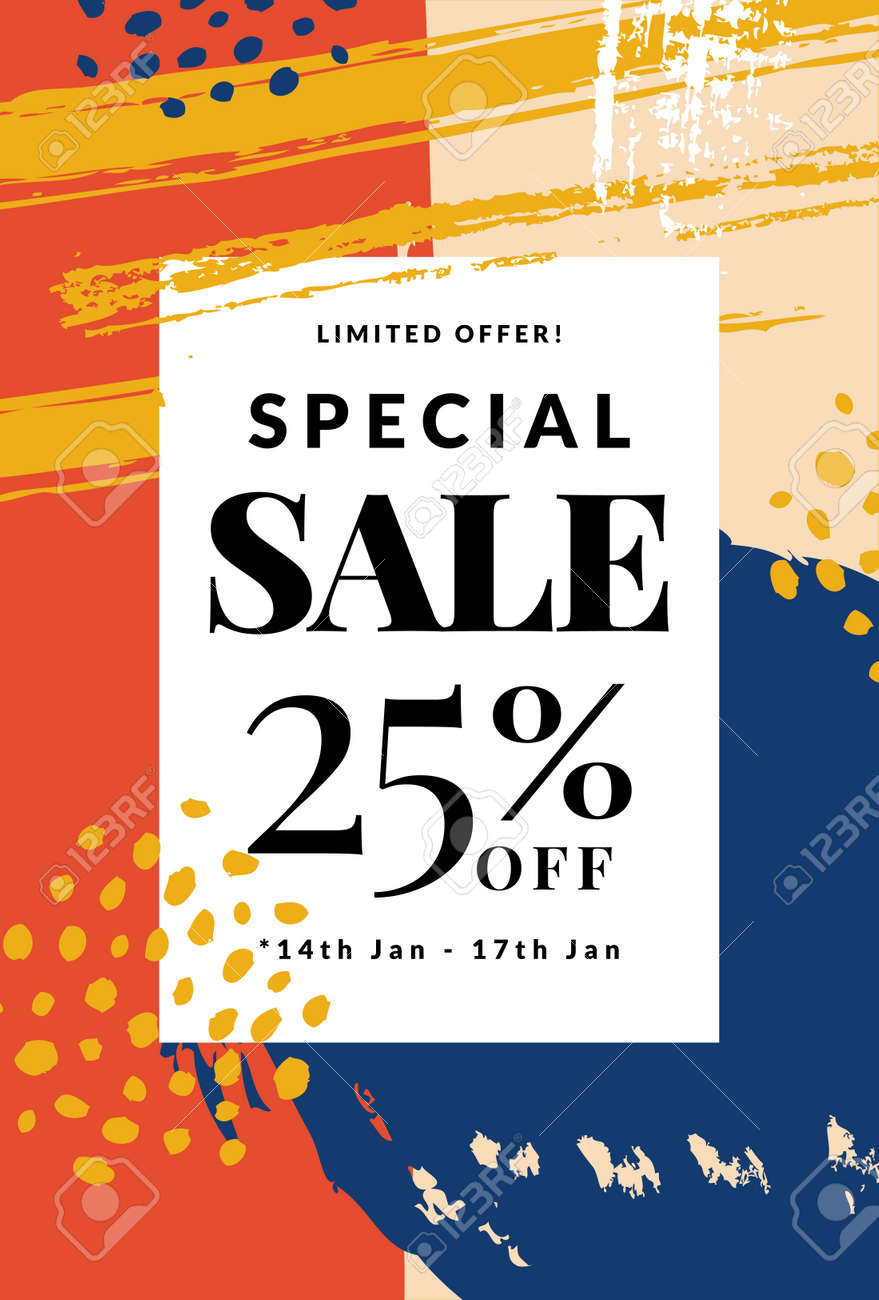 Sale banner with abstract hand drawn background. Vector discount template. - 162605996
