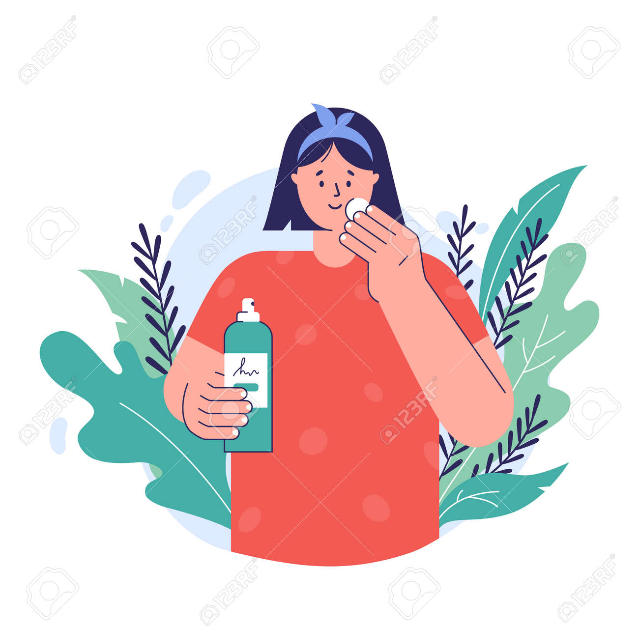 Skin care concept. A young woman applying tonic to cotton disc on her face. Natural cosmetic beauty product. Facial skincare. Vector illustration in a trendy flat style. - 162606006