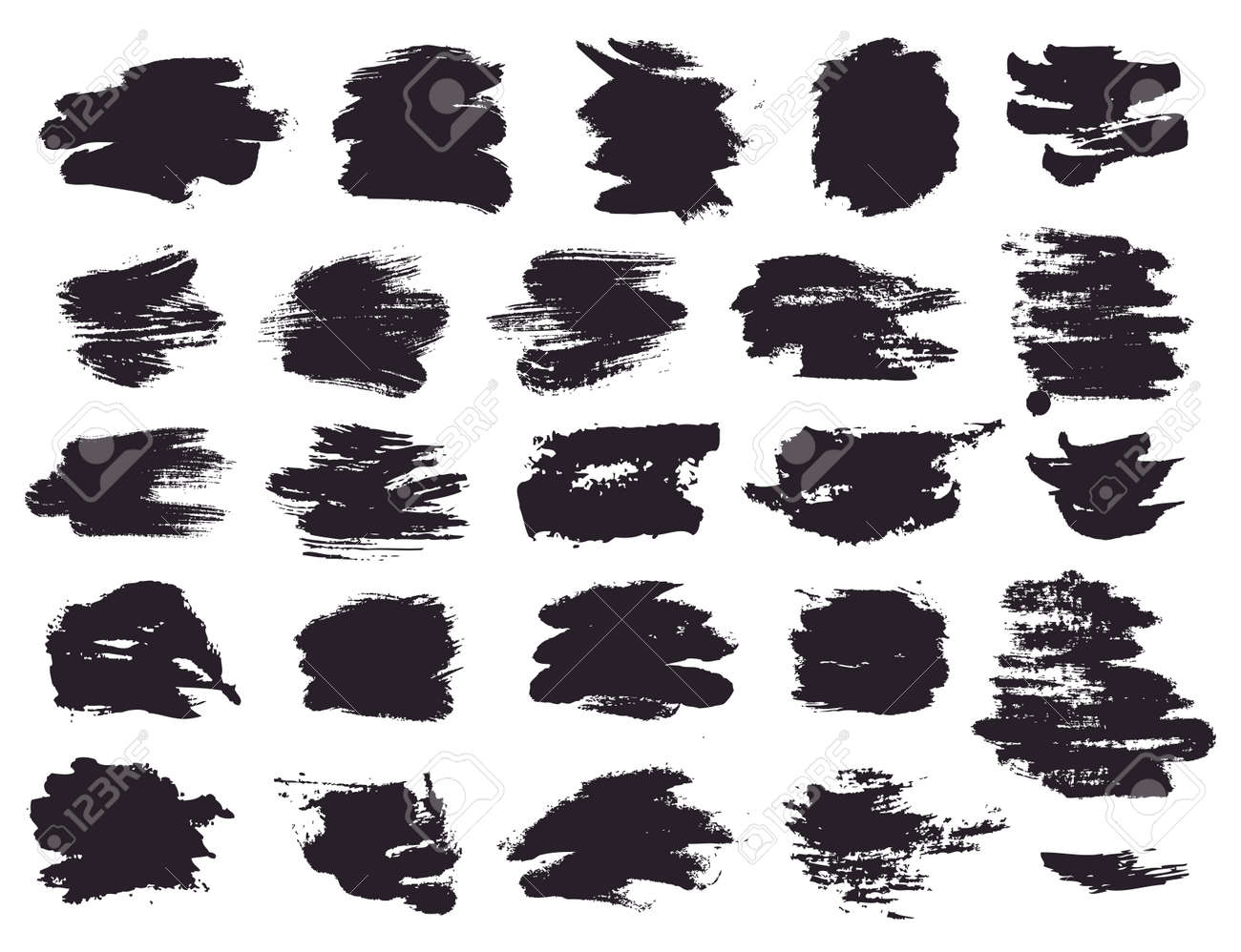 Paint brush strokes and abstract grunge stains isolated on white background. Black vector design elements for paintbrush texture, clipping mask, banner or text box. Freehand drawing collection. - 163460371