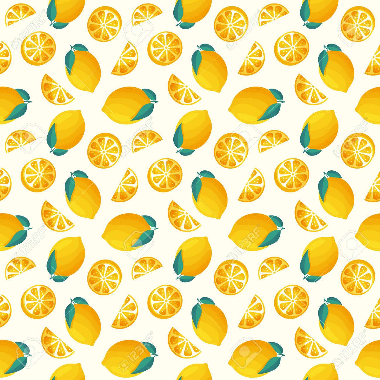 Seamless pattern with lemons. Vector background with juicy citrus fruit and leaves. - 165996801