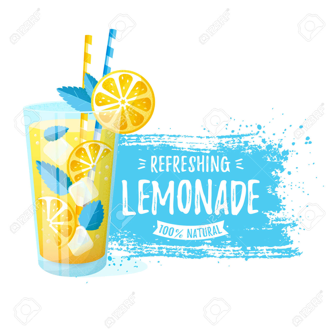 Lemonade - vector illustration. Modern banner with glass of refreshing drink and paint brush stroke isolated on a white background. - 169243825