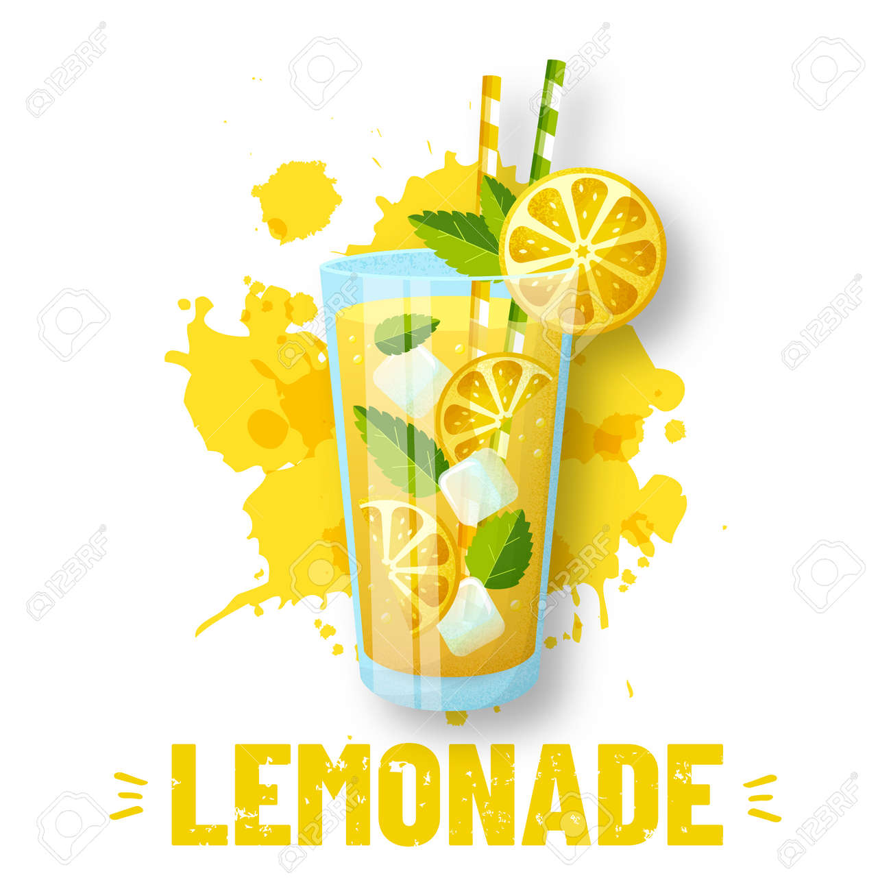 Lemonade - vector illustration. Modern banner with glass and juice splashes isolated on white background. Fresh and sweet summer drink with lemon slices, ice and mint. - 169243827