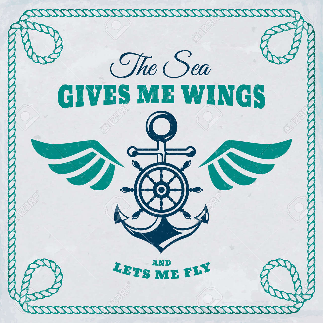 Vector emblem with anchor, steering wheel and wings. Nautical banner with vintage badge, inspirational quote and rope frame. Sea cruise, sailing travel or navigation themes. - 169243833