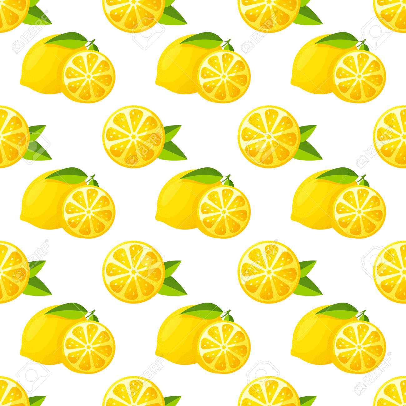Seamless pattern with lemons. Vector background with citrus fruit and leaves. - 169243856