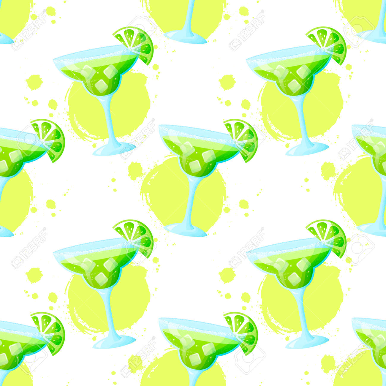Seamless pattern with Margarita cocktail. Raster background with refreshing summer drink and paint spots. - 169243859
