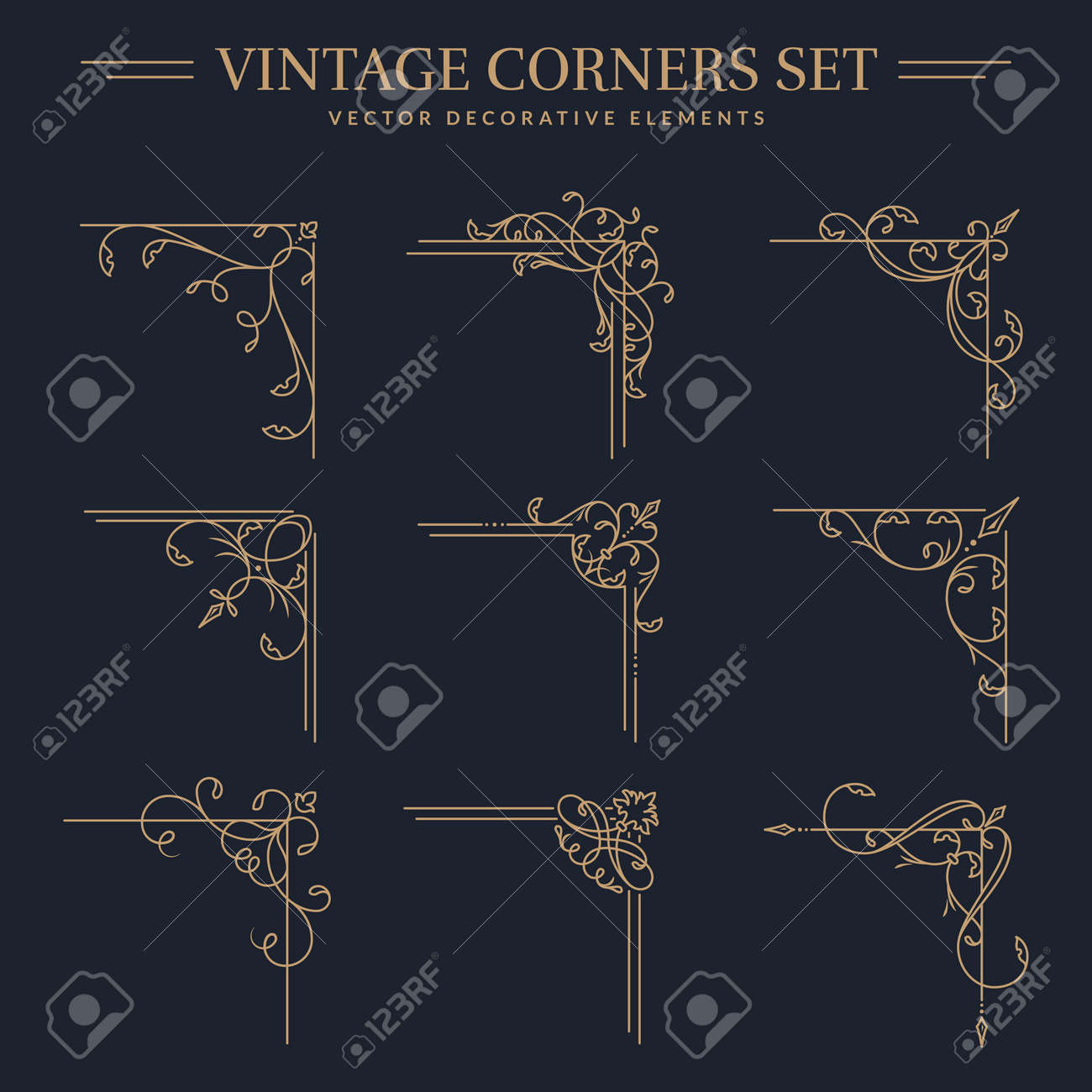 Vintage golden corners with different shapes. Set of isolated decorative angle borders. Flourish vector designs for greeting card, book page, restaurant menu, certificate, wedding invitation etc. - 169243860