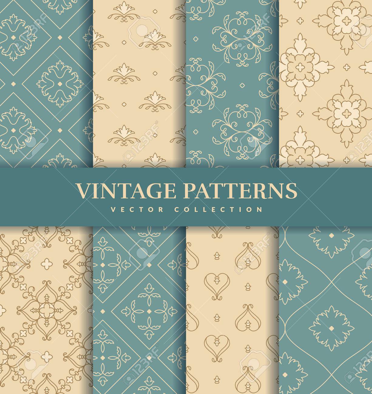 Vintage seamless patterns. Elegant abstract ornaments. Vector set. - 169243861