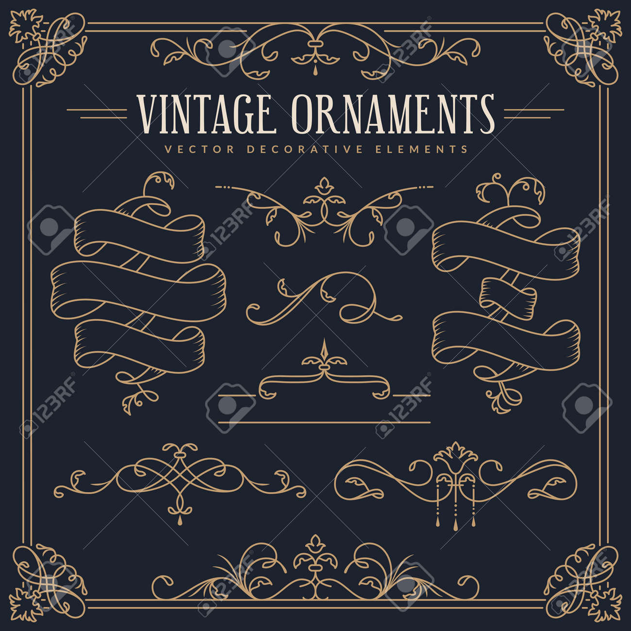 Ribbons, decorative borders, dividers, flourishes, frame. Vector vintage ornaments. Set of golden design elements isolated on dark background. - 169862049